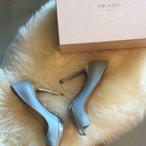 Prada baby blue leather heels sz38